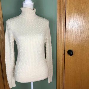 Tweeds 100% cashmere cable knit sweater turtleneck